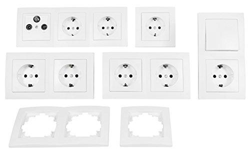 MC POWER - FLAIR - Wand Steckdosen und Schalter Set | Arbeitszimmer | 17-teilig | weiß, matt