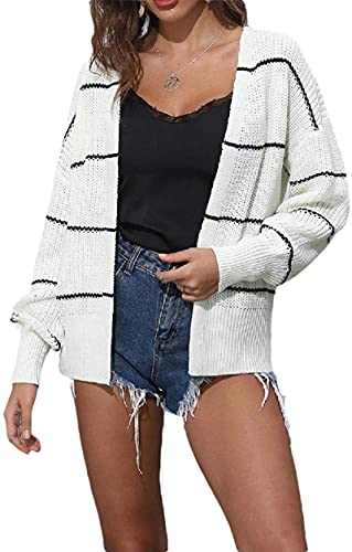 BUTERULES Womens Cardigan Sweatshirt Stripes Autumn Winter Knit Short Jacket Coat