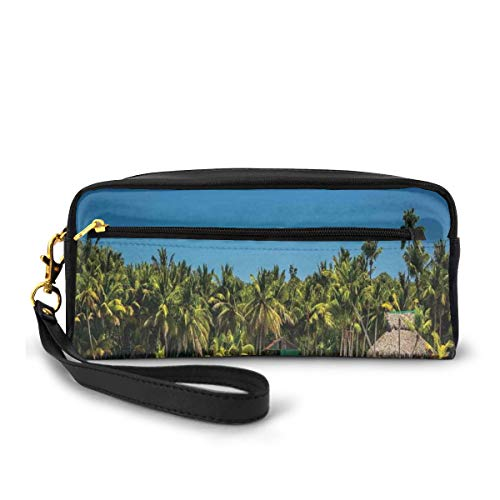 Pencil Case Pen Bag Pouch Stationary,Photo of A Tropical Beach with Palm Trees and Sea Ocean Sand Calm Dominican Paradise,Small Makeup Bag Coin Purse
