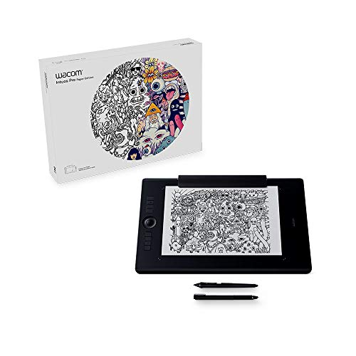Wacom PTH-860P Intuos Pro L Paper Edition Tableta gráfica con lápiz digital Pro Pen 2 y Finetip Pen / Diseño en papel y digital / Portalápices / Bluetooth / Compatible con Windows y MacOS / Negro