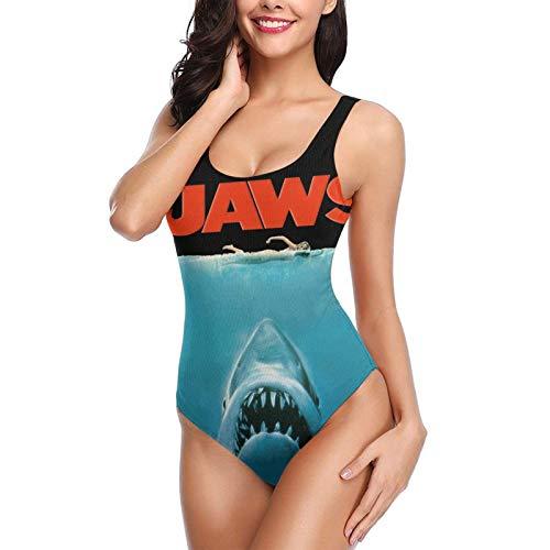Jaws Movie Poster Women's Backless Sexy Bikini One-Piece Swimsuit Beach Swimwear