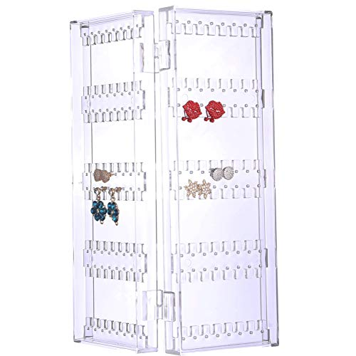 Sooyee 128 Holes 5 Tiers Acrylic Earrings Holder 2 Doors Foldable Necklace Hanging Jewelry Organizer Double Sided Stand Display,Clear
