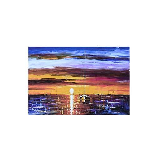 F-blue Imprimir Impresionismo Arte de la Pared del Barco de navegación en Vela de poliéster en poliéster Sunset Pintura Decoración para Sala de Estar