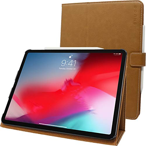 Snugg iPad Pro 2018 11' Leather Case, Flip Stand Cover - Desert Camel