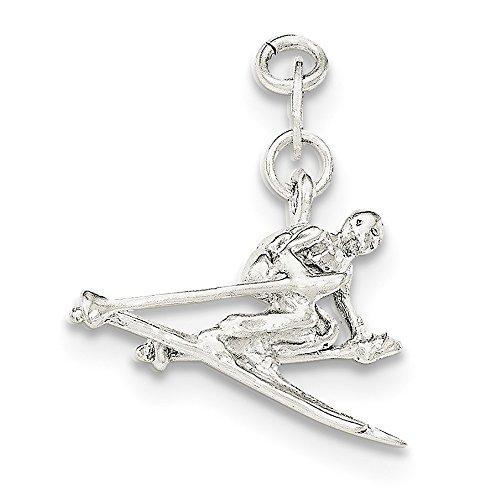 diamond2deal 925Sterling Silber Damen Poliert Skifahrer Anhänger