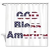 BYRON HOYLE God Bless Wort Duschvorhang Amerika Duschvorhang mit Ringen Polyester Stoff Duschvorhänge mit Haken Bad Badezimmer Dekor 183 x 183 cm