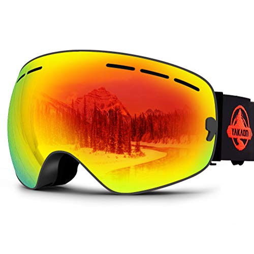 YAKAON Ski Snowboard Snow Goggles with UV Protection Anti-Fog Spherical OTG Anti-Slip Strap for Men Women