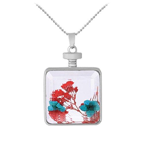 Adisaer Plexiglas Halskette Trockenblumen Kette Damen Blau Blumen Platz Transparent Quadrat Anhänger Getrocknete Blumen Pullover Kette