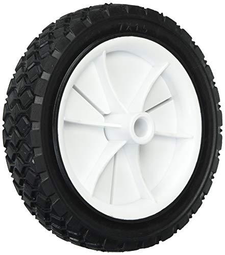 Shepherd Hardware 9611 7-Inch Semi-Pneumatic Rubber Replacement Tire, Plastic Wheel, 1-1/2-Inch Diamond Tread, 1/2-Inch Bore Offset Axle,White