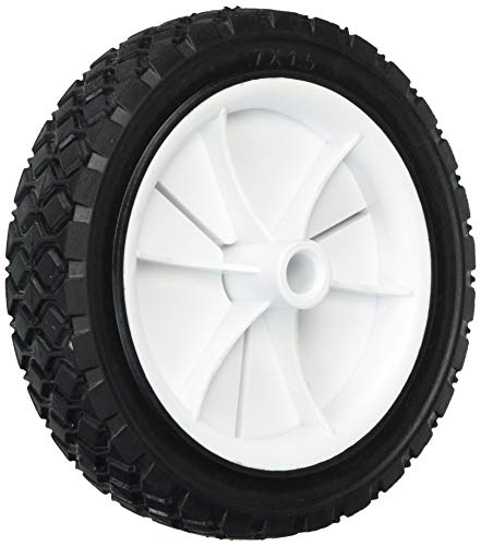 Shepherd Hardware 9611 7-Inch Semi-Pneumatic Rubber Replacement Tire, Plastic Wheel, 1-1/2-Inch Diamond Tread, 1/2-Inch Bore Offset Axle,White