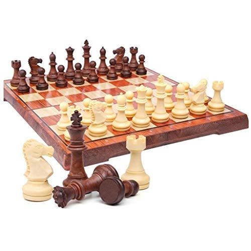 ZWW Schachset Chess Magnetic Schachfiguren Großes Schach Schach tragbare Falten Schachbrett Presse Schach Box Kinder und Erwachsene Lernspielzeug Unterhaltungsspiel (Größe : Large)