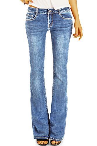 be Styled Damenjeans Medium Waist Bootcut Jeans Hose, Schlagjeans in Stretch Slim Fit Passform j16p 36/S Denimblue