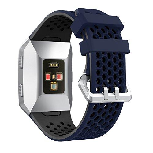 YaYuu Fitbit Ionic Correa de Reloj, Banda de Reemplazo Silicona Suave Sports Pulsera para Fitbit Ionic Smart Watch (C, Medianoche Azul-Negro)