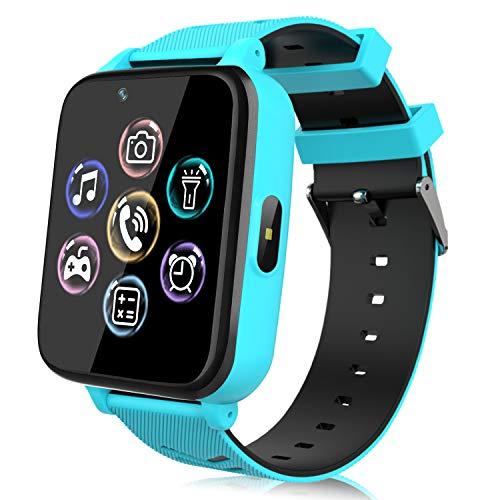 Smartwatch para Niños, Reloj Teléfono para Niña y Niño Pantalla Táctil con Música, 14 Juegos, Cámara, Linterna, Alarma, Reloj Inteligente para Niños Regalo (Azul)