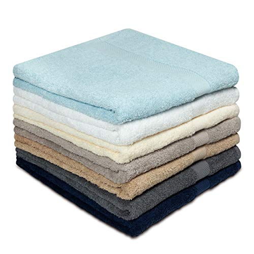 COTTON CRAFT Simplicity Ringspun Cotton Set of 7 Lightweight Bath Towels 27 inch x 52 inch Assorted Colors