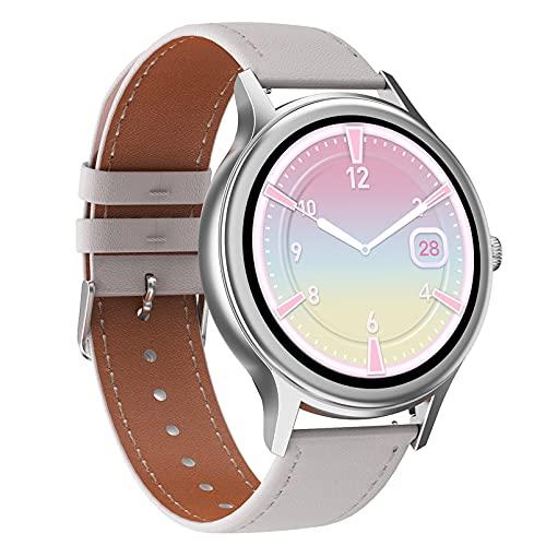 HQPCAHL Smartwatch, Reloj Inteligente Mujer Hombre IP67 con Pulsómetro, 1.09 Inch Smartwatch Presión Arterial Monitor de Sueño SpO2 GPS Podómetro Pulsera Actividad Inteligente,Blanco