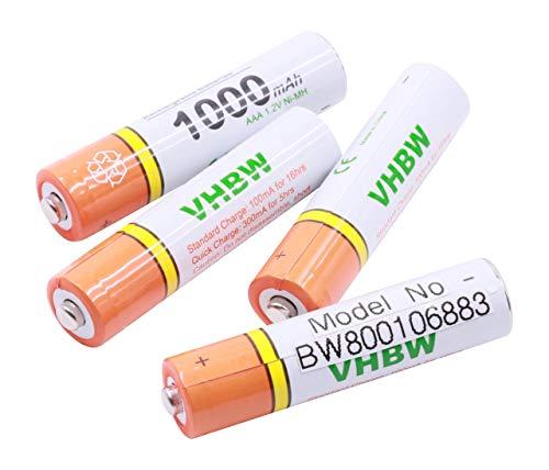 vhbw 4 x AAA, Micro, R3, HR03 Akku 1000mAh passend für Siemens Gigaset AS180, AS185, C430, C430A, Speedphone 100, 500, AVM Fritz!Fon C3