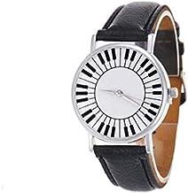 Relógio Piano de Pulso Painel Teclas de Teclado Pulseira Preta + Relógio LED - 4cm