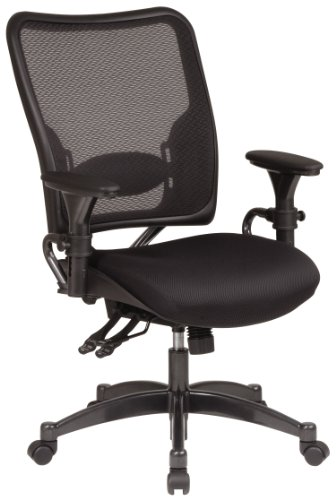 SPACE Seating Professional Dual Function Ergonomic AirGrid Back and Mesh Seat Office Chair with Gunmetal Finish Accents, Black