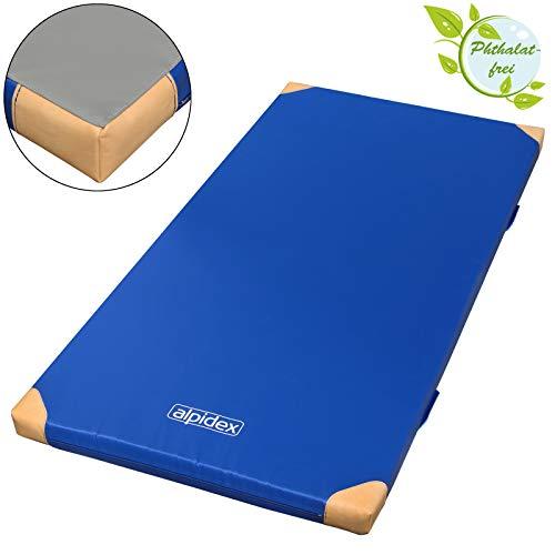 ALPIDEX Matte Turnmatte Sportmatte Gymnastikmatte 200 x 100 x 8 cm mit Antirutschboden und Lederecken RG 80 (weich)
