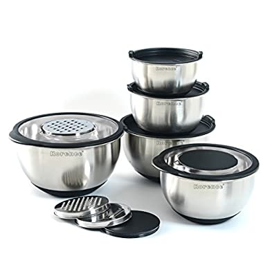 Rorence Stainless Steel Mixing Bowl Set of 5 with Graters & Transparent Lids - Black