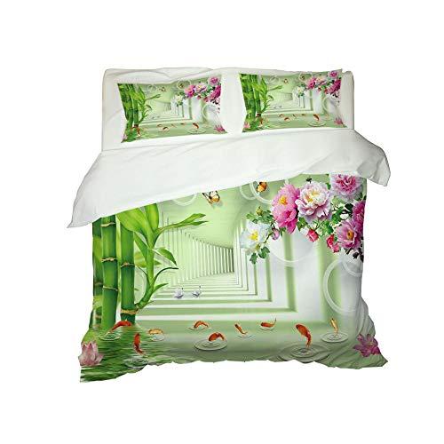 CJZYY 3D Duvet Cover Bamboo flower Printed Bedding Duvet Cover with Zipper Closure,3 Pieces (1 Duvet Cover +2 Pillowcases) Ultra Soft Microfiber Bedding -Super King 220 X 260 cm