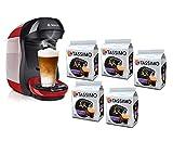 Bosch Hogar TAS1003 TASSIMO Happy Cafetera de cápsulas, 1400 W, color rojo y negro y TASSIMO L'Or Café Lungo Profondo - 5...