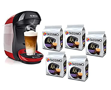 Bosch Hogar TAS1003 TASSIMO Happy Cafetera de cápsulas, 1400 W, color rojo y negro y TASSIMO L'Or Café Lungo Profondo - 5 paquetes de 16 cápsulas: Total 80 unidades