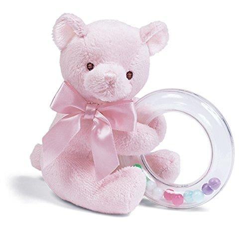 Bearington Baby Dottie Pink Teddy Bear, Baby Rattle, 5'