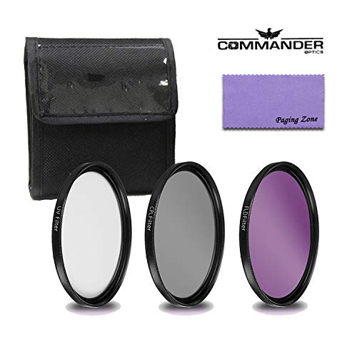 Commander Pro HD Series 58mm - 3 Piece (UV, FLD, CPL) Digital Filter Kit with Protective Case and Cleaning Cloth