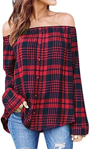 pingrog Sweatshirt Damen Frauen Elegant Schulterfrei Oberteil Vintage Karierte Shirt...