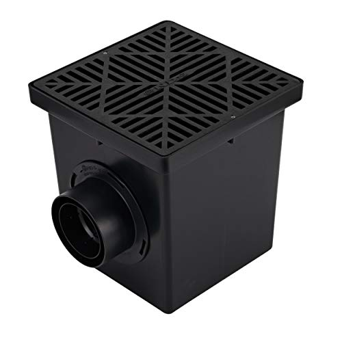 """NDS 1200BKIT Black Plastic Grate, 2 Adapters, and 1 Outlet Plug, 12 in, 12"""" x 12"""""""