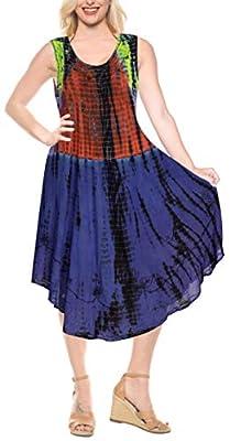 LA LEELA Womens Beach Dress Tunic Top T-Shirt Dress Caftan US 4-14W Yellow_E601