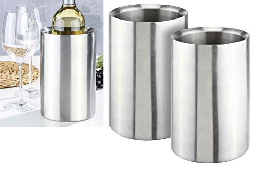 Oramics 2er Set Flaschenkühler Weinkühler komplett aus Edelstahl 12,5x12,5x19cm - Sektkühler kippsicher bruchfest - Doppelwandige Vakuumisolierung für bessere Kühlung (Silber, 2 Stück)
