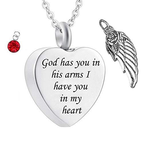 UGBJ Memorial Cenizas Dios la Tiene en Sus Brazos con alas de ángel, Encanto, fieraños, fieraños, joyería, joyería, Monumento, Monumento, Collar de urna con Cristal de Piedra de Nacimiento
