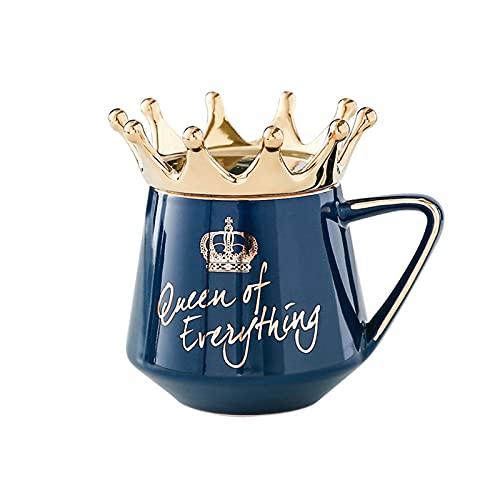 QKFON Queen of Everything Tasse mit Kronen-Deckel und Löffel, Keramik-Kaffeetasse, geeignet für Zuhause, Büro, Geschenk für Freundin, Ehefrau, Liebhaber, 11,3 x 7,3 x 11,2 cm