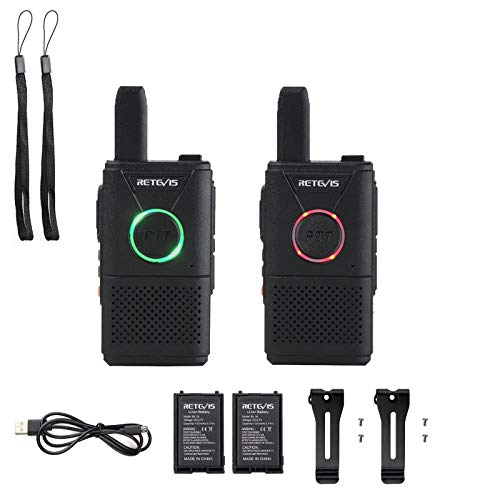 Retevis RT618 Mini Walkie Talkie PMR 446 sin Licencia 16 Canales Two Way Radio VOX Scan CTCSS/DCS Transmisores-receptores con Cable USB Universal (2Par, Negro)