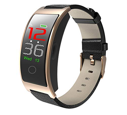 PADY CK11C Bluetooth 4.0 Smart Watch Bracelet Blood Pressure Tracker IP67 Waterproof Touch Color LCD Smart Bracelet Pedometer Wristband for iOS & Android Stock in US and CN (Gold)