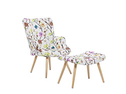 Beliani Trendy Ohrensessel mit Hocker Polyester und Metall Blumenmotiv cremeweiss Vejle