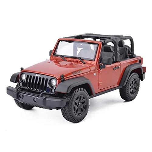 Modelo del Coche 1, 18 Jeep Wrangler Simulación joyería de la aleación Juguete Adornos SUV Colección de fundición a presión 22x10.5x10CM (Color, Blanco), Negro (Color : Orange, Size : One Size)