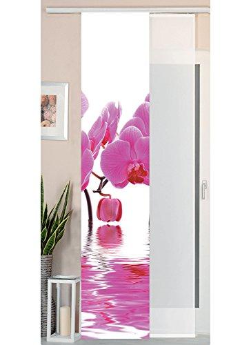 Gardinenbox 2er Set Schiebegardine Flächenvorhang Wildseide Optik und Voile Paneel, 245x45, Orchidee Pink, 80400