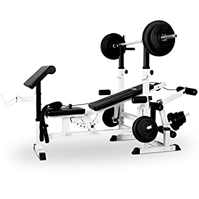 Klarfit KS02 Gym Barbell Weight Bench Press Curl Desk, Training Bench (Butterfly, PULLEY, Sturdy Steel Construction and Imitation Leather, Well Padded Backrest Seat & Curl Desk, Black from Klarfit