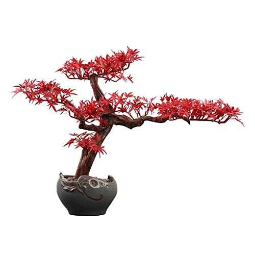 Faux Potted Plant Creative Chinese-style Root Carving Crafts Ornaments, Zen Artificial Red Maple Fake Bonsai Home Decoration, Ceramic Flower Pot Artificial Potted Artificial Tree Artificial Bonsai Tre