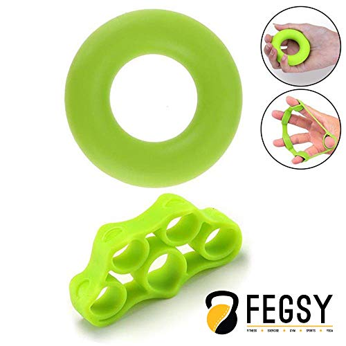 FEGSY Finger Exerciser Strengthener Hand Gripper Stretcher Ring for Guitar Player, Musicians, and Therapy - Set of 2, Multi Color