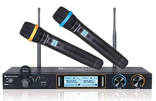 Martin Ranger U-6800R Metal Dual Channels UHF 900MHz Wireless Microphone System with Plug-in USB Rechargeable Lithium Battery