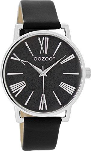 Oozoo Mädchen-/Damenuhr mit Lederband 38 MM Glitzer/Schwarz JR304