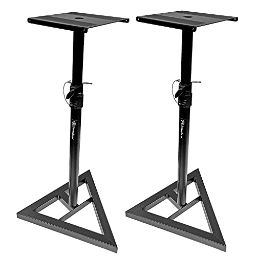 AxcessAbles AXA SMS-101 Heavy Duty Studio Monitor Speaker Stands for Recording Studio, Home Audio Speakers, DJs. Compatible with JBL, Yamaha HS, KRK Rokit Monitors