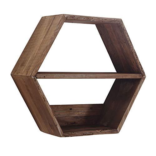 Pixie, Estante de Pared Hexagonal, Estantería Auxiliar, Acabado en Madera de Pino Reciclado, Medidas: 51 cm (Largo) x 44 cm (Alto) x 18 cm (Fondo)