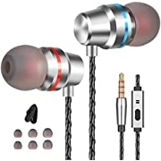 Gsebr Earbuds Ear Buds Wired in Ear Headphones Stereo Earphone Mic Earbuds Compatible Samsung Android Laptop 3.5mm Audio Silver