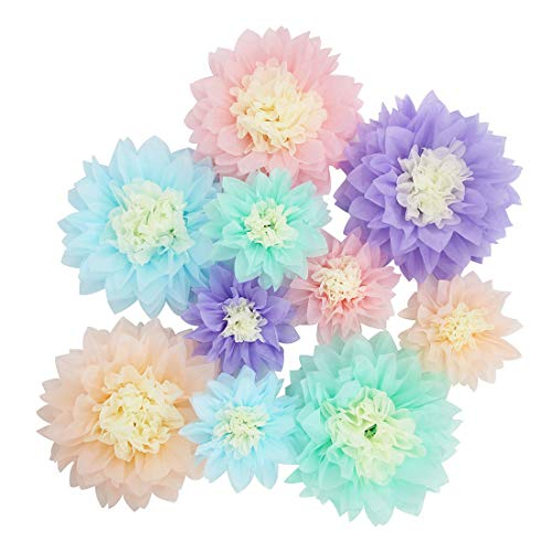Mybbshower Pastel Tissue Paper Flower Baby Shower Centerpiece Living Room Wall Decor Pack of 10